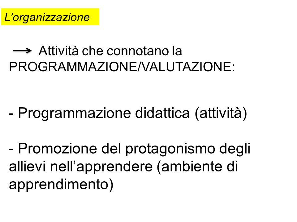Attività che connotano la PROGRAMMAZIONE/VALUTAZIONE: Lorganizzazione - Programmazione didattica (attività) - Promozione del protagonismo degli alliev
