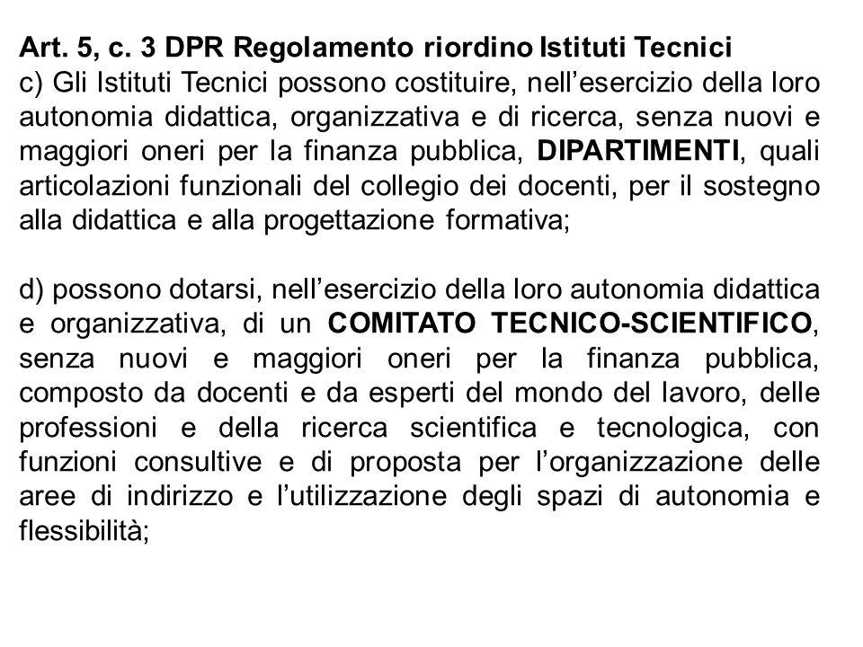 Art. 5, c. 3 DPR Regolamento riordino Istituti Tecnici c) Gli Istituti Tecnici possono costituire, nellesercizio della loro autonomia didattica, organ