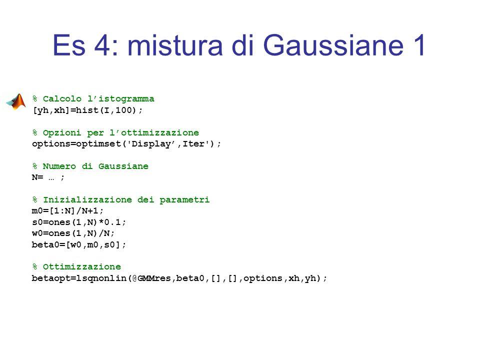 Es 4: mistura di Gaussiane 1 % Calcolo listogramma [yh,xh]=hist(I,100); % Opzioni per lottimizzazione options=optimset('Display,Iter'); % Numero di Ga
