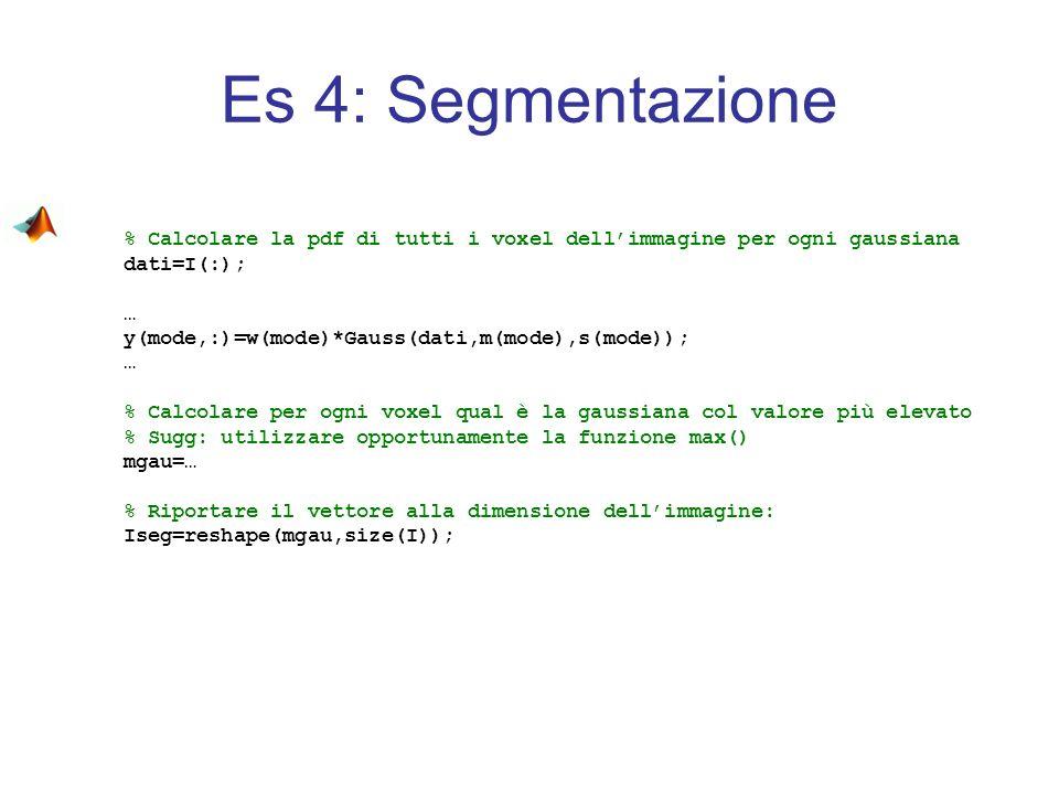 Es 4: Segmentazione % Calcolare la pdf di tutti i voxel dellimmagine per ogni gaussiana dati=I(:); … y(mode,:)=w(mode)*Gauss(dati,m(mode),s(mode)); …