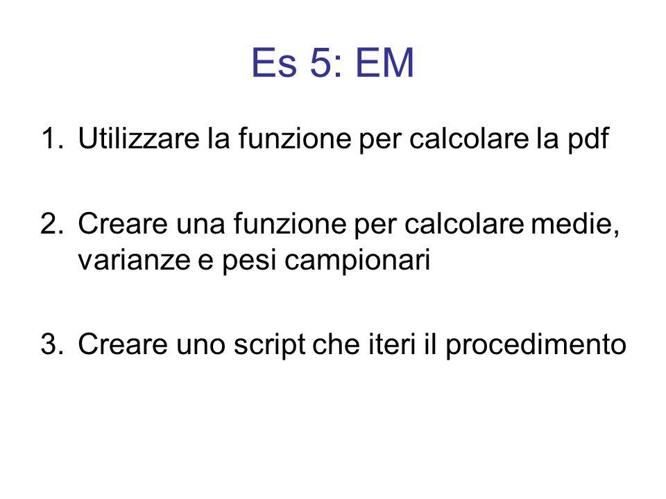 1.Utilizzare la funzione per calcolare la pdf 2.Creare una funzione per calcolare medie, varianze e pesi campionari 3.Creare uno script che iteri il p