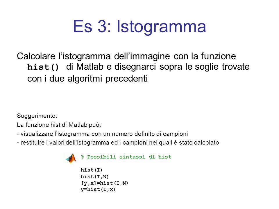 Es 3: Istogramma Calcolare listogramma dellimmagine con la funzione hist() di Matlab e disegnarci sopra le soglie trovate con i due algoritmi preceden