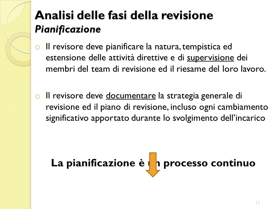 11 o Il revisore deve pianificare la natura, tempistica ed estensione delle attività direttive e di supervisione dei membri del team di revisione ed i