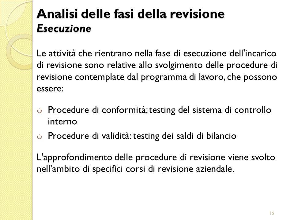16 Le attività che rientrano nella fase di esecuzione dell'incarico di revisione sono relative allo svolgimento delle procedure di revisione contempla