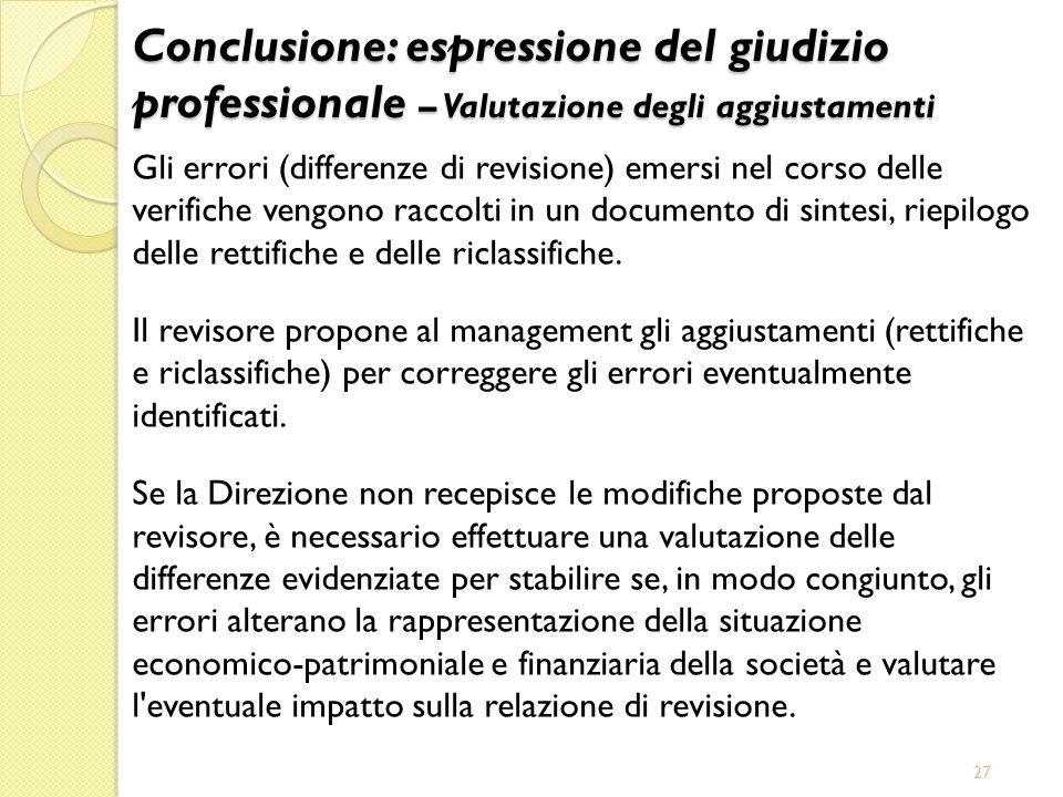 27 Gli errori (differenze di revisione) emersi nel corso delle verifiche vengono raccolti in un documento di sintesi, riepilogo delle rettifiche e del