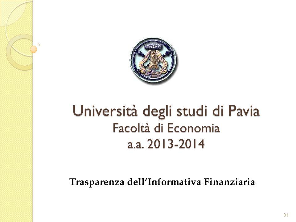 Università degli studi di Pavia Facoltà di Economia a.a. 2013-2014 Trasparenza dellInformativa Finanziaria 31