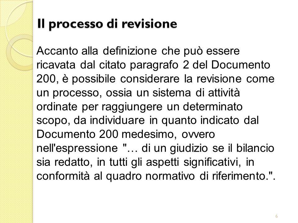 6 Il processo di revisione Accanto alla definizione che può essere ricavata dal citato paragrafo 2 del Documento 200, è possibile considerare la revis