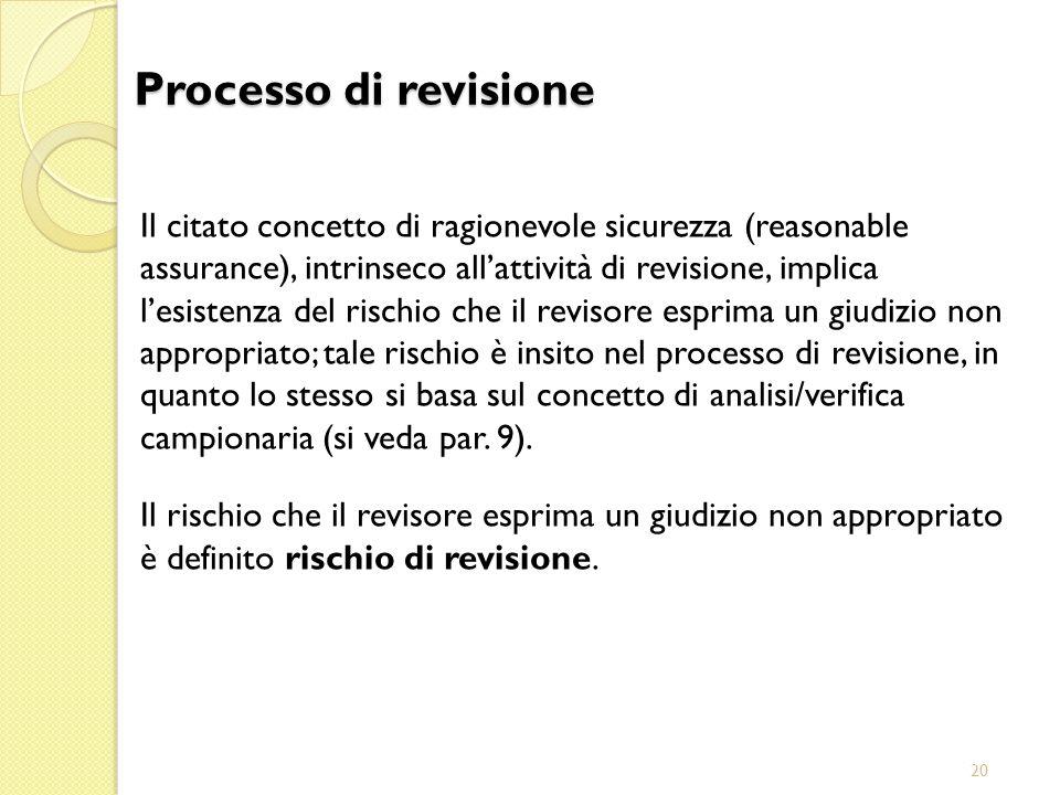 20 Il citato concetto di ragionevole sicurezza (reasonable assurance), intrinseco allattività di revisione, implica lesistenza del rischio che il revi