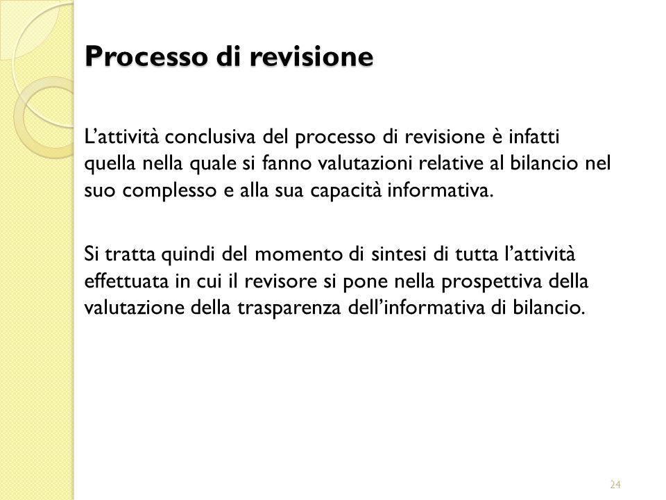 24 Lattività conclusiva del processo di revisione è infatti quella nella quale si fanno valutazioni relative al bilancio nel suo complesso e alla sua