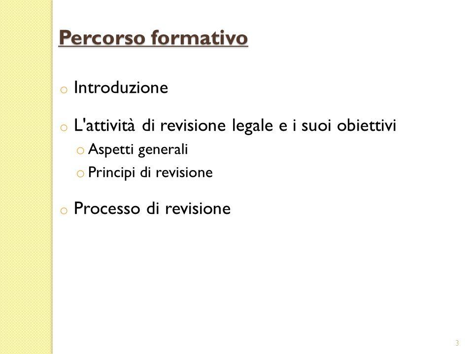 o Introduzione o L'attività di revisione legale e i suoi obiettivi o Aspetti generali o Principi di revisione o Processo di revisione 3 Percorso forma