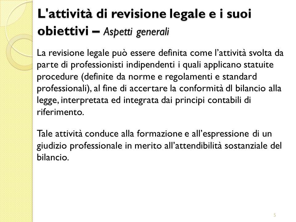 5 L'attività di revisione legale e i suoi obiettivi – Aspetti generali La revisione legale può essere definita come lattività svolta da parte di profe
