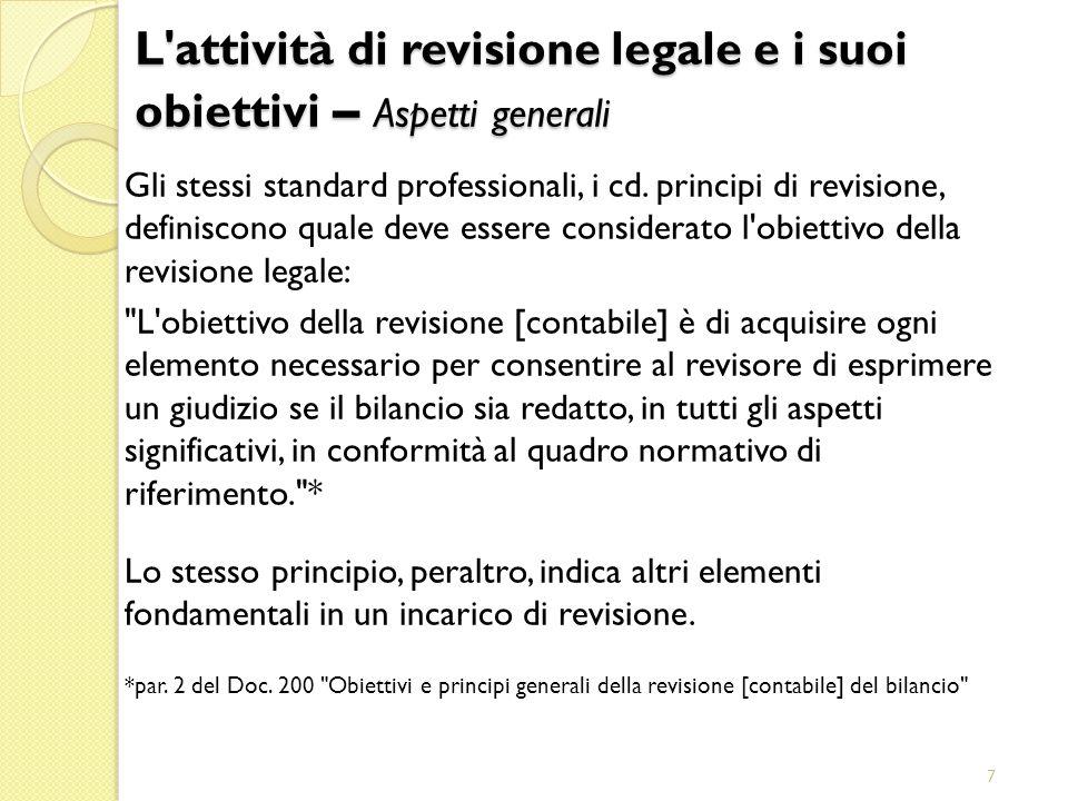 7 Gli stessi standard professionali, i cd. principi di revisione, definiscono quale deve essere considerato l'obiettivo della revisione legale: