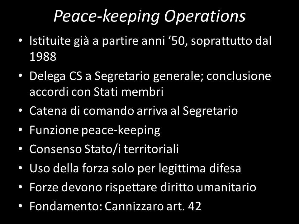 Peace-keeping Operations Istituite già a partire anni 50, soprattutto dal 1988 Delega CS a Segretario generale; conclusione accordi con Stati membri C