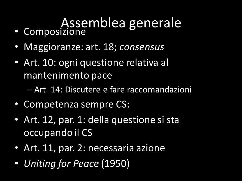 Assemblea generale Composizione Maggioranze: art. 18; consensus Art. 10: ogni questione relativa al mantenimento pace – Art. 14: Discutere e fare racc