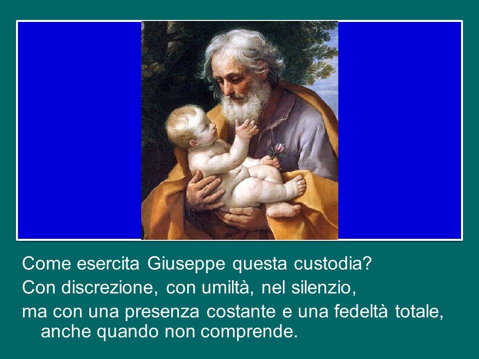 In queste parole è già racchiusa la missione che Dio affida a Giuseppe, quella di essere custos, custode. Custode di chi? Di Maria e di Gesù; ma è una