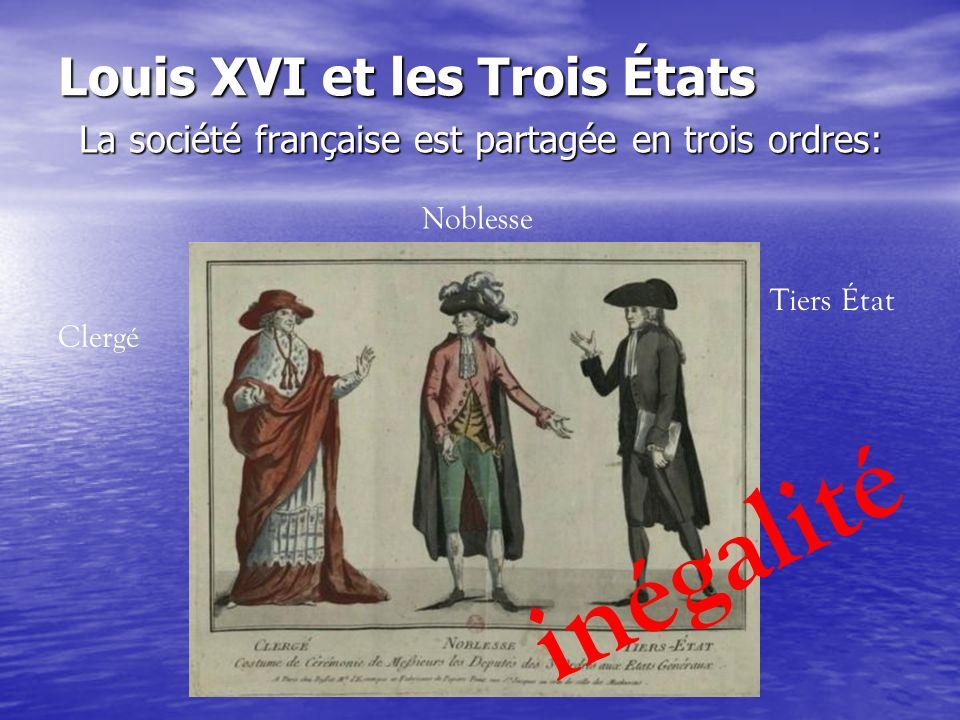 Louis XVI et les Trois États La société française est partagée en trois ordres: Clergé Noblesse Tiers État inégalité