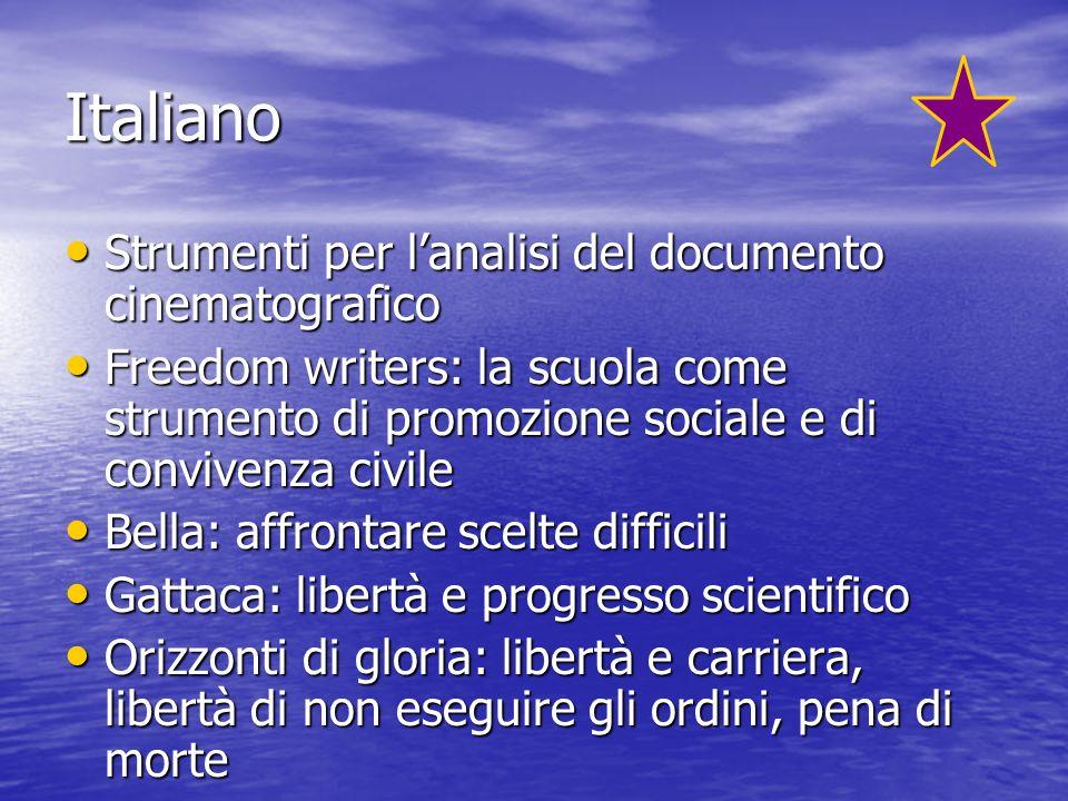 Italiano Strumenti per lanalisi del documento cinematografico Strumenti per lanalisi del documento cinematografico Freedom writers: la scuola come str