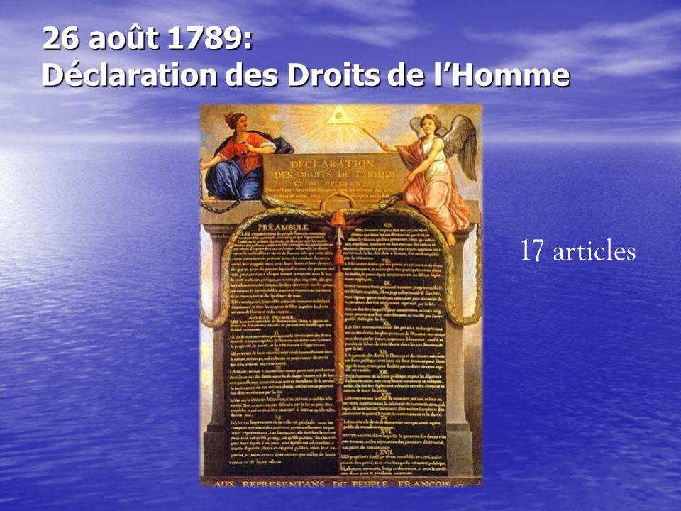 26 août 1789: Déclaration des Droits de lHomme 17 articles