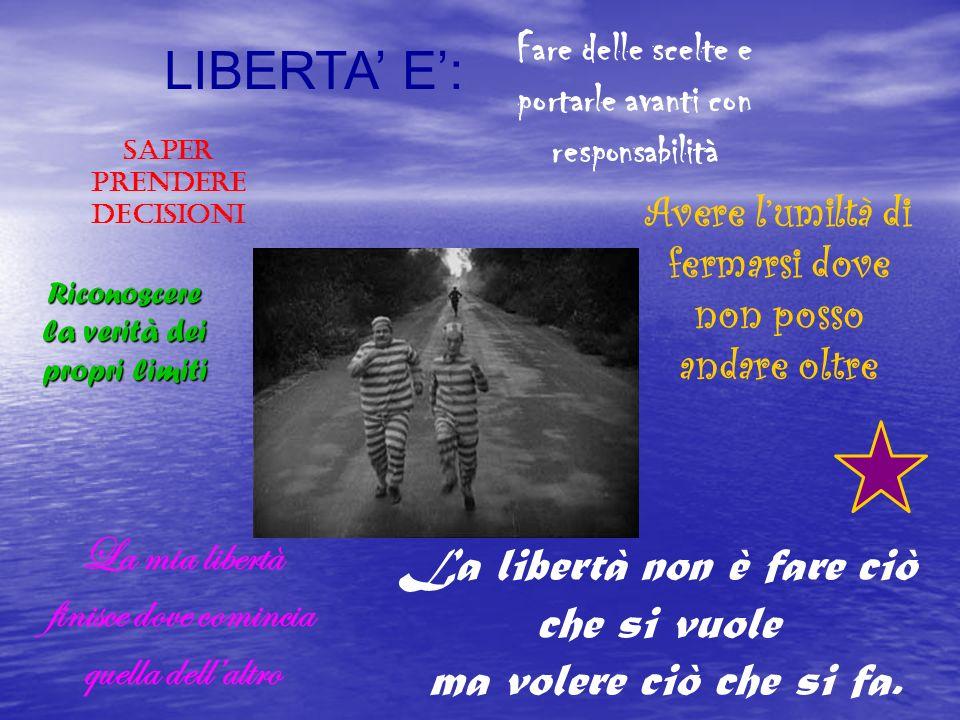 LIBERTA E: Riconoscere la verità dei propri limiti Fare delle scelte e portarle avanti con responsabilità La mia libertà finisce dove comincia quella