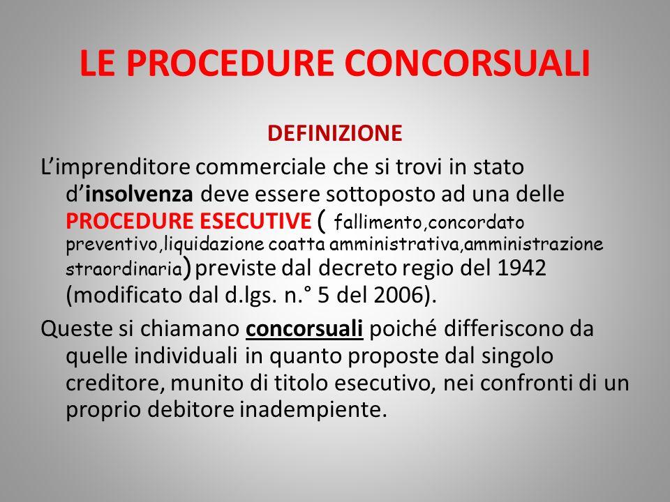 LE PROCEDURE CONCORSUALI: IL FALLIMENTO CARATTERI - Concorsualità = il patrimonio del fallito ( soggetto insolvente) è messo a disposizione non di un solo creditore ma di tutti i creditori.