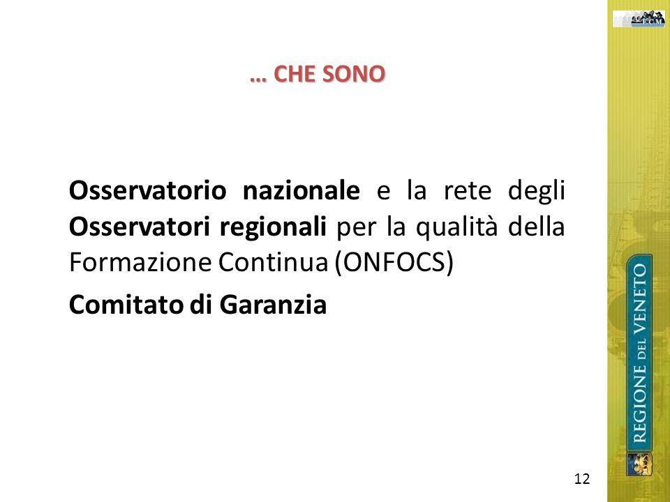 … CHE SONO Osservatorio nazionale e la rete degli Osservatori regionali per la qualità della Formazione Continua (ONFOCS) Comitato di Garanzia 12