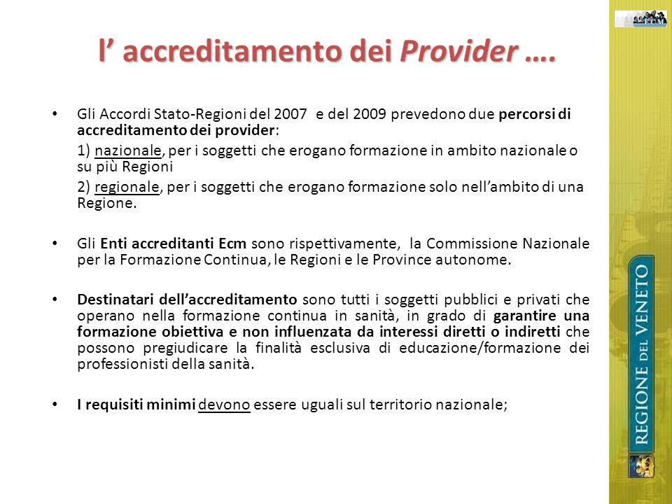 l accreditamento dei Provider …. Gli Accordi Stato-Regioni del 2007 e del 2009 prevedono due percorsi di accreditamento dei provider: 1) nazionale, pe