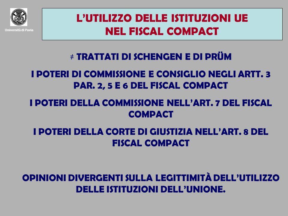 Università di Pavia LUTILIZZO DELLE ISTITUZIONI UE NEL FISCAL COMPACT TRATTATI DI SCHENGEN E DI PRÜM I POTERI DI COMMISSIONE E CONSIGLIO NEGLI ARTT. 3