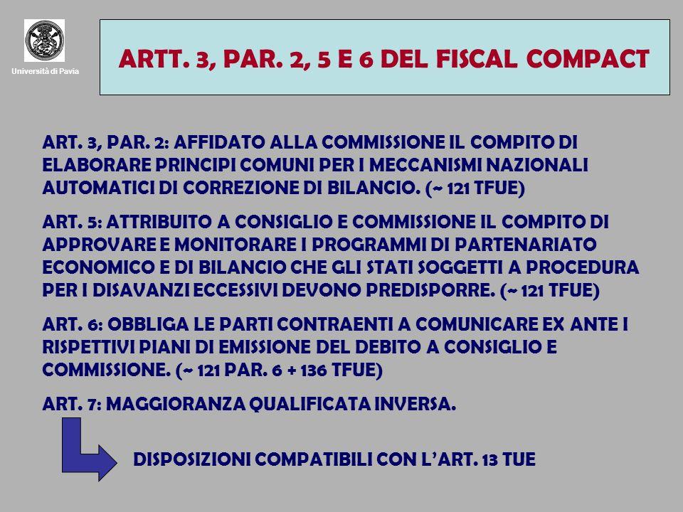 Università di Pavia ARTT. 3, PAR. 2, 5 E 6 DEL FISCAL COMPACT ART. 3, PAR. 2: AFFIDATO ALLA COMMISSIONE IL COMPITO DI ELABORARE PRINCIPI COMUNI PER I