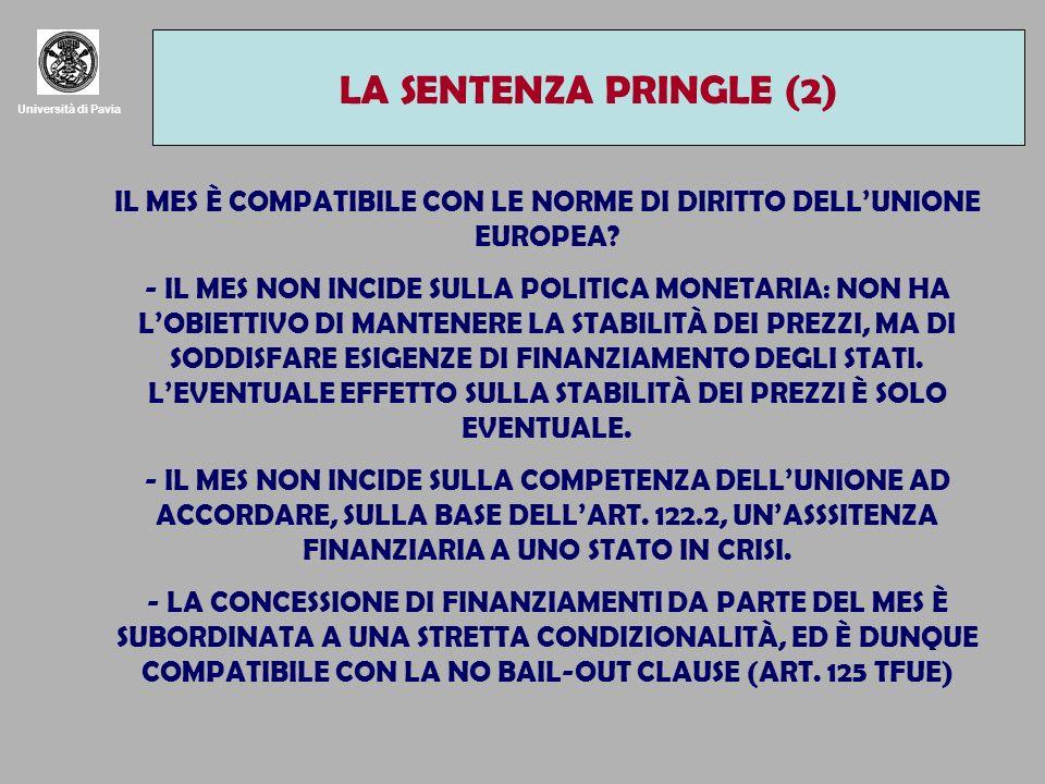 Università di Pavia LA SENTENZA PRINGLE (2) IL MES È COMPATIBILE CON LE NORME DI DIRITTO DELLUNIONE EUROPEA? - IL MES NON INCIDE SULLA POLITICA MONETA