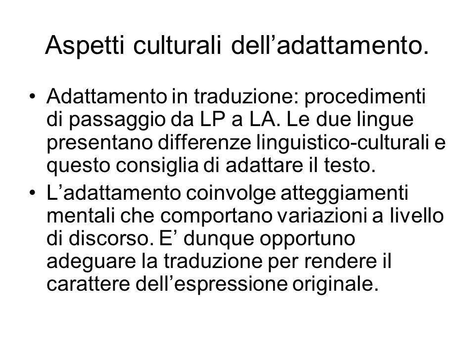 Aspetti culturali delladattamento. Adattamento in traduzione: procedimenti di passaggio da LP a LA.