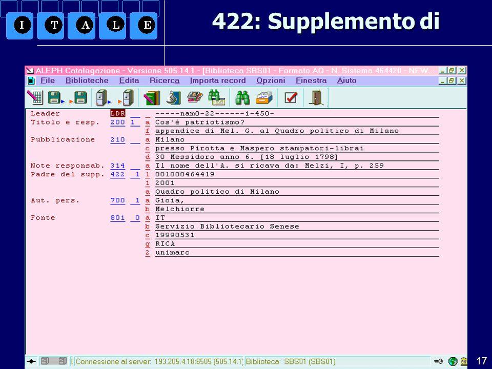 3.12.2004 UNIMARC per il libro antico17 422: Supplemento di