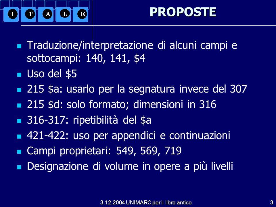 3.12.2004 UNIMARC per il libro antico3PROPOSTE Traduzione/interpretazione di alcuni campi e sottocampi: 140, 141, $4 Uso del $5 215 $a: usarlo per la