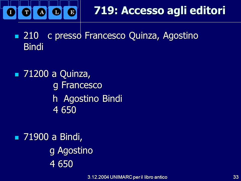 3.12.2004 UNIMARC per il libro antico33 719: Accesso agli editori 210 c presso Francesco Quinza, Agostino Bindi 210 c presso Francesco Quinza, Agostin