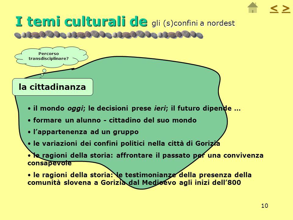 10 I temi culturali de gli (s)confini a nordest il mondo oggi; le decisioni prese ieri; il futuro dipende … formare un alunno - cittadino del suo mond