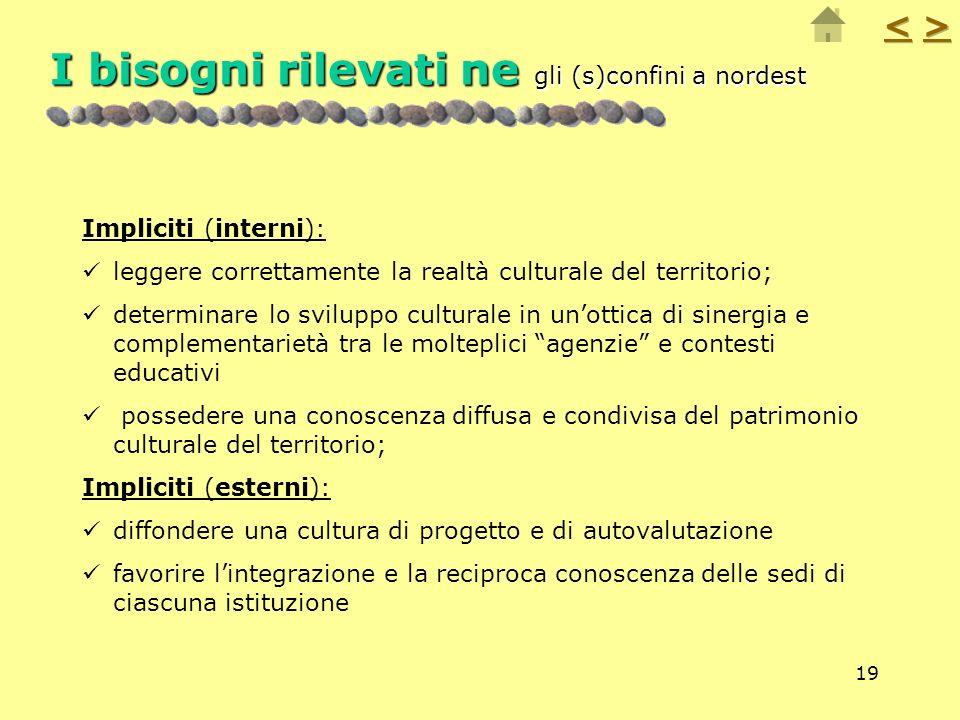 19 I bisogni rilevati ne gli (s)confini a nordest Impliciti (interni): leggere correttamente la realtà culturale del territorio; determinare lo svilup