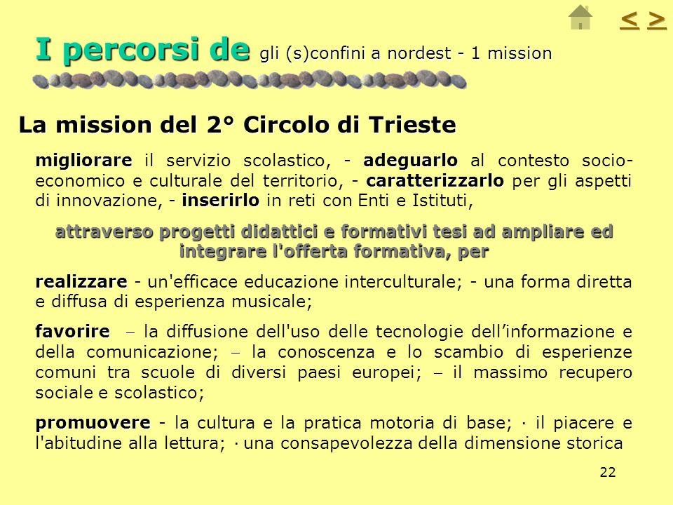 22 I percorsi de gli (s)confini a nordest - 1 mission La mission del 2° Circolo di Trieste migliorareadeguarlo caratterizzarlo inserirlo migliorare il