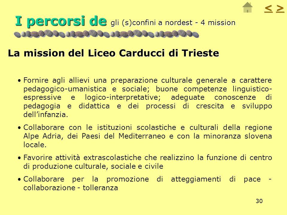 30 I percorsi de gli (s)confini a nordest - 4 mission La mission del Liceo Carducci di Trieste Fornire agli allievi una preparazione culturale general