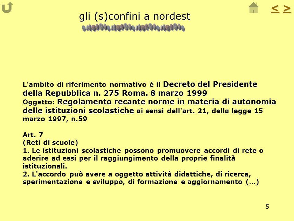 5 gli (s)confini a nordest Decreto del Presidente della Repubblica n. 275 Roma. 8 marzo 1999 Regolamento recante norme in materia di autonomia delle i