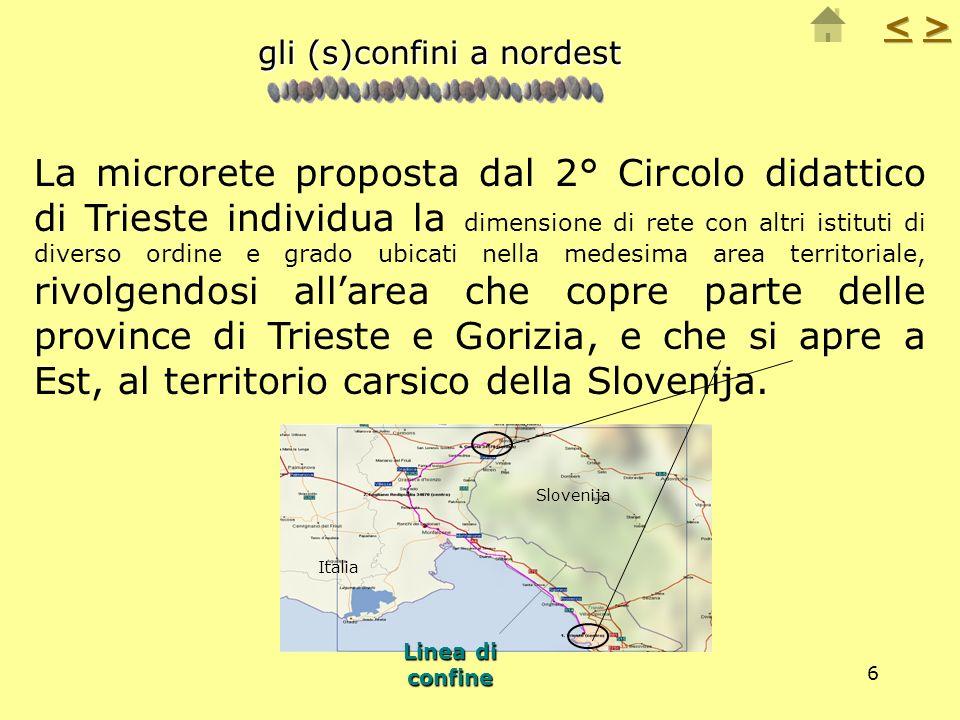 6 La microrete proposta dal 2° Circolo didattico di Trieste individua la dimensione di rete con altri istituti di diverso ordine e grado ubicati nella