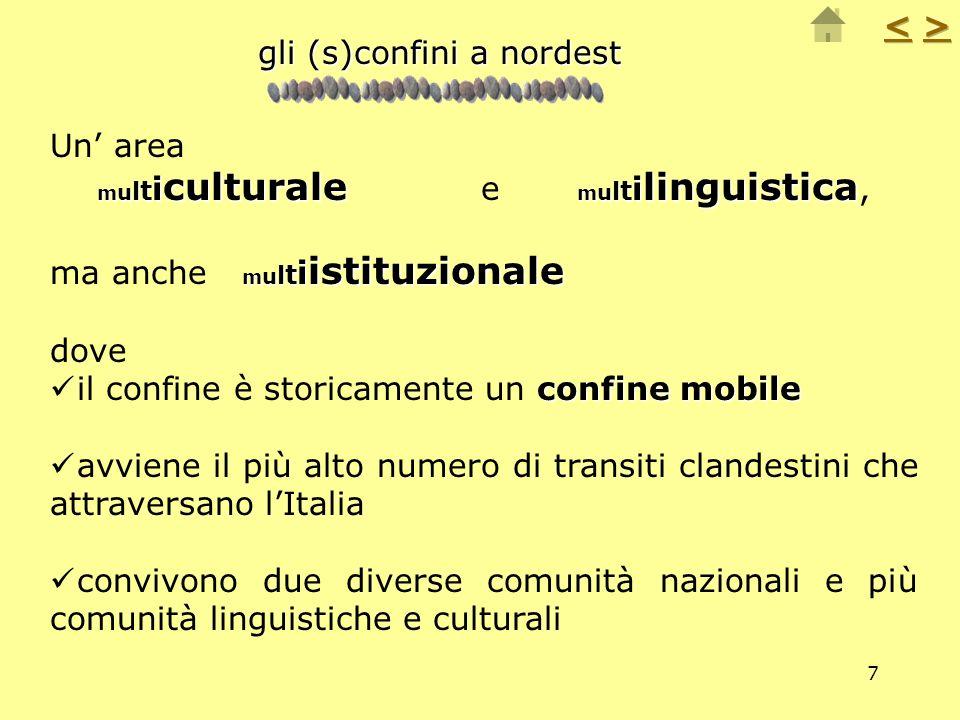 7 Un area m u l t i culturale m u l t i linguistica m u l t i culturale e m u l t i linguistica, m u l t i istituzionale ma anche m u l t i istituzion