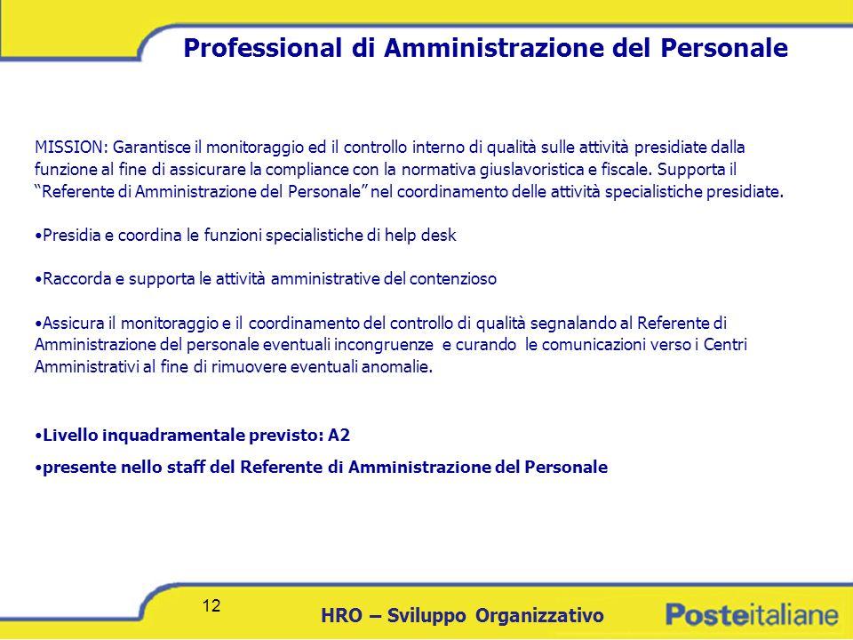 DCICT 12 HRO – Sviluppo Organizzativo 12 Professional di Amministrazione del Personale MISSION: Garantisce il monitoraggio ed il controllo interno di