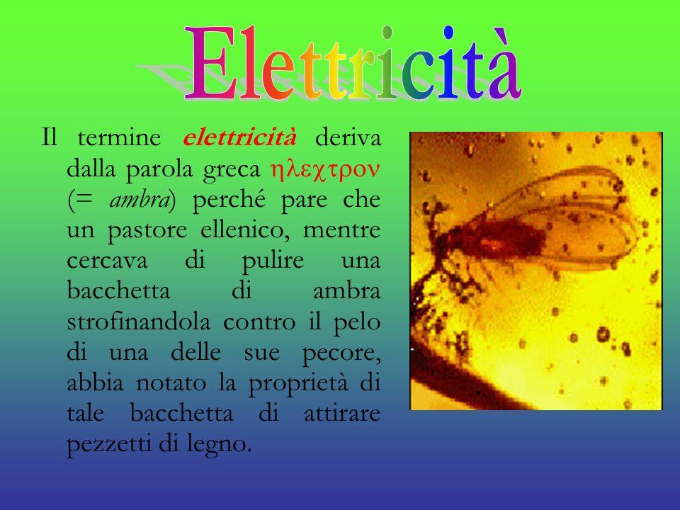Il termine elettricità deriva dalla parola greca (= ambra) perché pare che un pastore ellenico, mentre cercava di pulire una bacchetta di ambra strofi