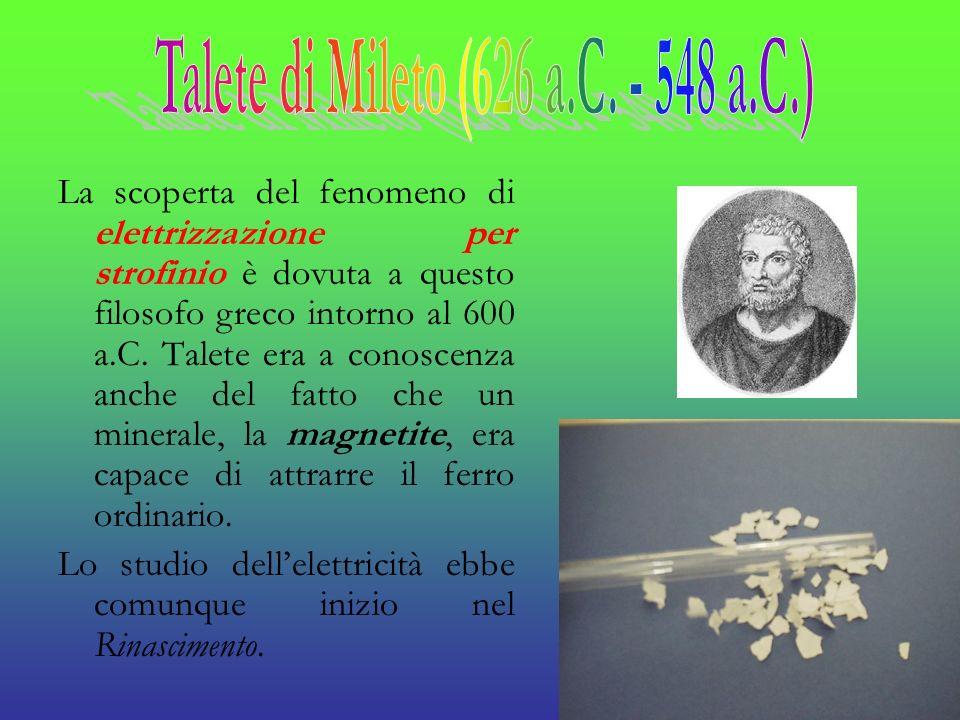 La scoperta del fenomeno di elettrizzazione per strofinio è dovuta a questo filosofo greco intorno al 600 a.C. Talete era a conoscenza anche del fatto