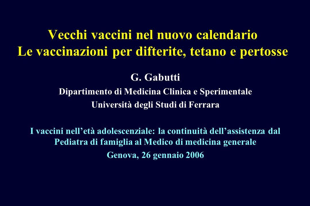 Vecchi vaccini nel nuovo calendario Le vaccinazioni per difterite, tetano e pertosse G. Gabutti Dipartimento di Medicina Clinica e Sperimentale Univer