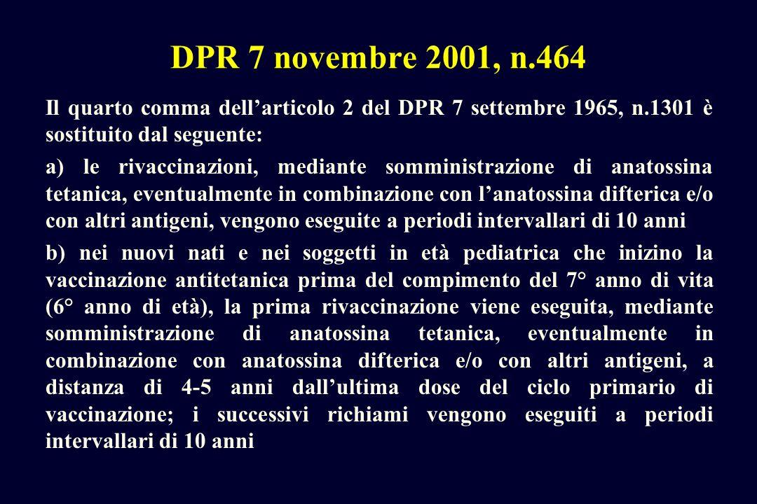 DPR 7 novembre 2001, n.464 Il quarto comma dellarticolo 2 del DPR 7 settembre 1965, n.1301 è sostituito dal seguente: a) le rivaccinazioni, mediante s
