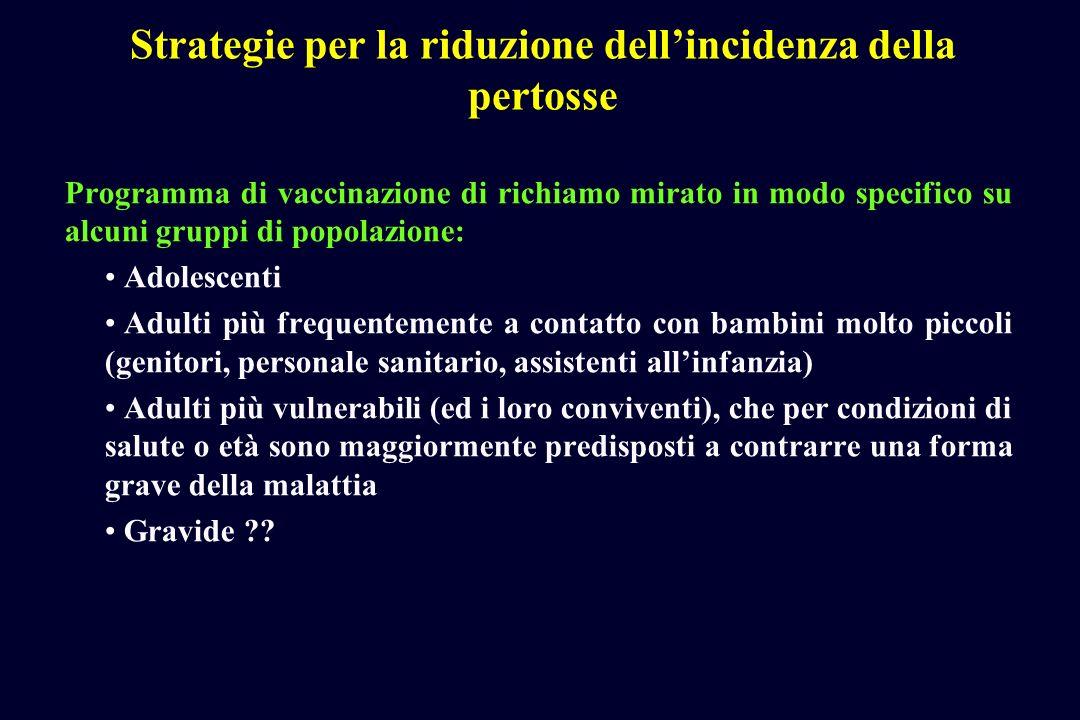 Strategie per la riduzione dellincidenza della pertosse Programma di vaccinazione di richiamo mirato in modo specifico su alcuni gruppi di popolazione