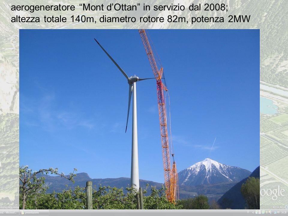 aerogeneratore Mont dOttan in servizio dal 2008; altezza totale 140m, diametro rotore 82m, potenza 2MW