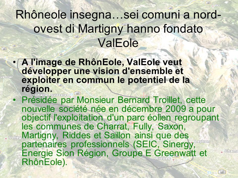 Rhôneole insegna…sei comuni a nord- ovest di Martigny hanno fondato ValEole A l image de RhônEole, ValEole veut développer une vision d ensemble et exploiter en commun le potentiel de la région.
