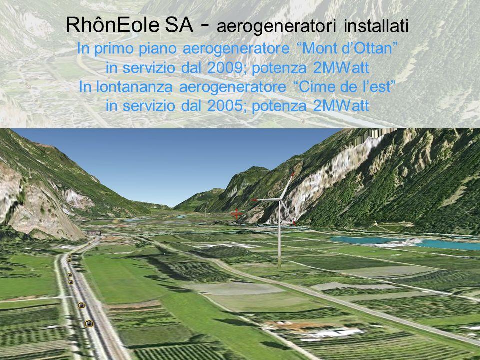 RhônEole SA - aerogeneratori installati In primo piano aerogeneratore Mont dOttan in servizio dal 2009; potenza 2MWatt In lontananza aerogeneratore Cime de lest in servizio dal 2005; potenza 2MWatt