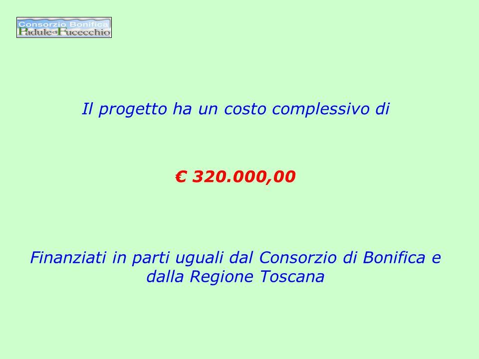 Il progetto ha un costo complessivo di Finanziati in parti uguali dal Consorzio di Bonifica e dalla Regione Toscana 320.000,00